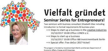 """IBB & Berliner Senat Seminar """"Vielfalt gründet"""""""